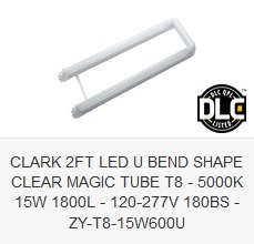CLARK 2FT LED U BEND SHAPE CLEAR MAGIC TUBE T8 - ZY-T8-15W600U