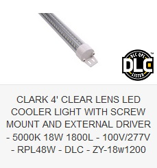 CLARK 4' CLEAR LENS LED COOLER LIGHT WITH SCREW MOUNT AND EXTERNAL DRIVER - 5000K 18W 1800L - 100V-277V - RPL48W - DLC - ZY-18w1200