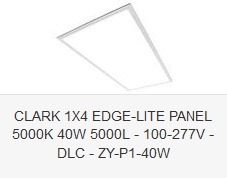CLARK 1X4 EDGE-LITE PANEL 5000K 40W 5000L - 100-277V - DLC - ZY-P1-40W