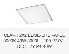 CLARK 2X2 EDGE-LITE PANEL 5000K 40W 5000L - 100-277V - DLC - ZY-P4-40W