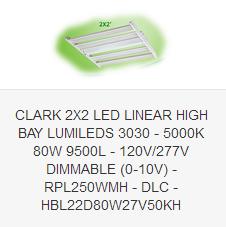 CLARK 2X2 LED LINEAR HIGH BAY LUMILEDS 3030 - 5000K 80W 9500L - 120V-277V DIMMABLE (0-10V) - RPL250WMH - DLC - HBL22D160W27V50KH
