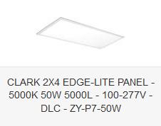 CLARK 2X4 EDGE-LITE PANEL - 5000K 50W 5000L - 100-277V - DLC - ZY-P7-50W