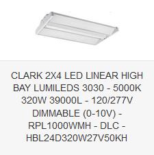 CLARK 2X4 LED LINEAR HIGH BAY LUMILEDS 3030 - 5000K 320W 39000L - 120-277V DIMMABLE (0-10V) - RPL1000WMH - DLC - HBL24D320W27V50KH