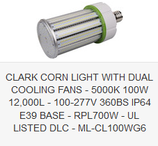 CLARK CORN LIGHT WITH DUAL COOLING FANS - 5000K 100W 12,000L - 100-277V 360BS IP64 E39 BASE - RPL700W - UL LISTED DLC - ML-CL100WG6