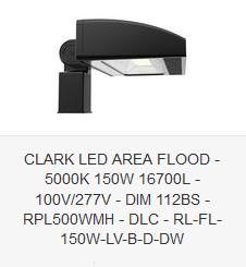 CLARK LED AREA FLOOD - 5000K 150W 16700L - 100V-277V - DIM 112BS - RPL500WMH - DLC - RL-FL-150W-LV-B-D-DW