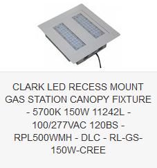 CLARK LED RECESS MOUNT GAS STATION CANOPY FIXTURE - 5700K 150W 11242L - 100-277VAC  sc 1 st  Clark LED Lighting & Canopy Light Fixtures | Clark LED Lighting