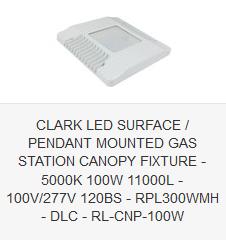 CLARK LED SURFACE PENDANT MOUNTED GAS STATION CANOPY FIXTURE - 5000K 100W 11000L - 100V-277V 120BS - RPL300WMH - DLC - RL-CNP-100W