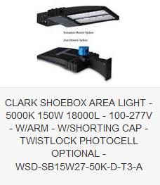 CLARK SHOEBOX AREA LIGHT - 5000K 150W 18000L - 100-277V -  w ARM - SHORTING CAP - TWISTLOCK PHOTOCELL OPTIONAL - WSD-SB15W27-50K-D-T3-A