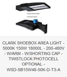 CLARK SHOEBOX AREA LIGHT - 5000K 150W 18000L - 200-480V - ARM - SHORTING CAP - TWISTLOCK PHOTOCELL OPTIONAL - WSD-SB15W48-50K-D-T3-A