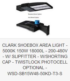 CLARK SHOEBOX AREA LIGHT - 5000K 150W 18000L - 200-480V - SLIPFITTER - SHORTING CAP - TWISTLOCK PHOTOCELL OPTIONAL - WSD-SB15W48-50KD-T3-S