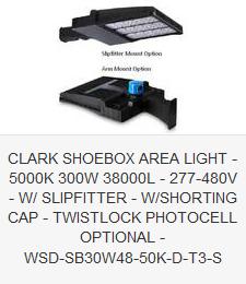 CLARK SHOEBOX AREA LIGHT - 5000K 300W 38000L - 277-480V - SLIPFITTER - SHORTING CAP - TWISTLOCK PHOTOCELL OPTIONAL - WSD-SB30W48-50K-D-T3-S