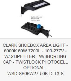 CLARK SHOEBOX AREA LIGHT - 5000K 60W 7200L - 100-277V - W SLIPFITTER - W SHORTING CAP - TWISTLOCK PHOTOCELL OPTIONAL - WSD-SB06W27-50K-D-T3-S
